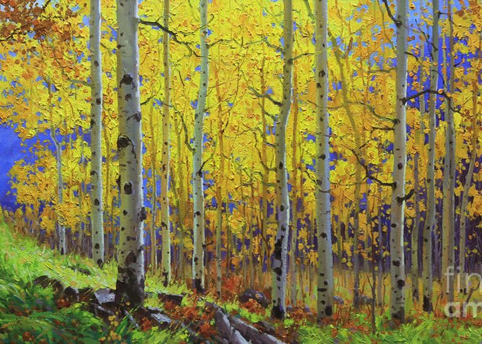 Aspen Greeting Card featuring the painting Fall Aspen Hill by Gary Kim