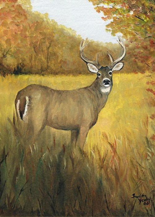 Animal Greeting Card featuring the painting Fall Buck by Charlotte Yealey