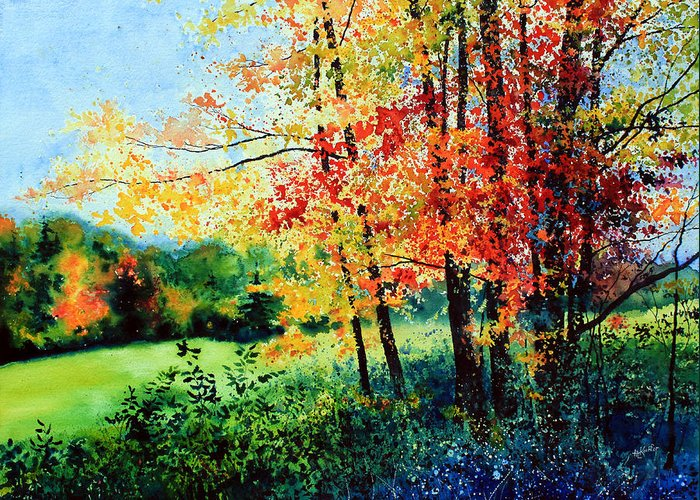 Fall Landscape Art Greeting Card featuring the painting Fall Color by Hanne Lore Koehler