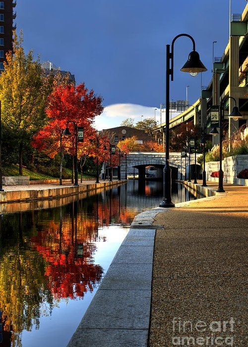 Landscape Greeting Card featuring the photograph Fall Colors Along The Canal by Tim Wilson