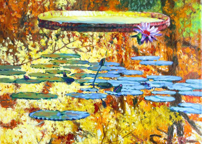 Fall Greeting Card featuring the painting Fall Colors On The Lily Pond by John Lautermilch