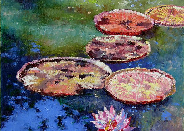 Fall Water Lilies Greeting Card featuring the painting Fall Colors On The Pond by John Lautermilch