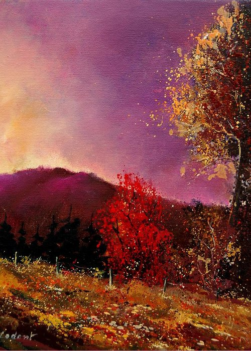 River Greeting Card featuring the painting Fall Colors by Pol Ledent