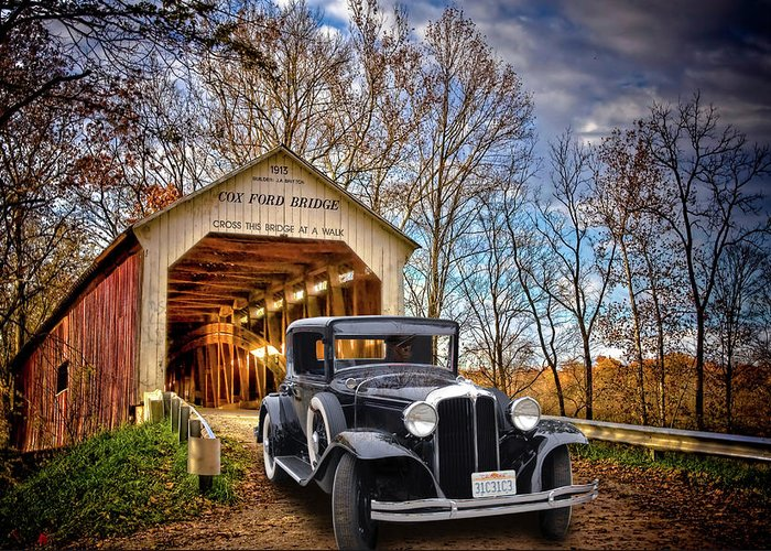 Covered Bridge Greeting Card featuring the photograph Fall Country Drive by Bill Dutting