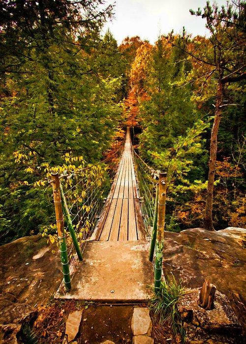 River Greeting Card featuring the digital art Fall Creek Falls Bridge by Paul Bartoszek
