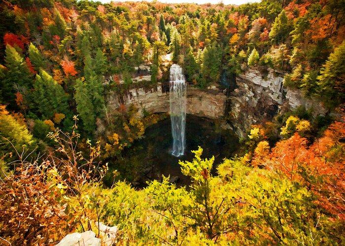 River Greeting Card featuring the digital art Fall Creek Falls by Paul Bartoszek