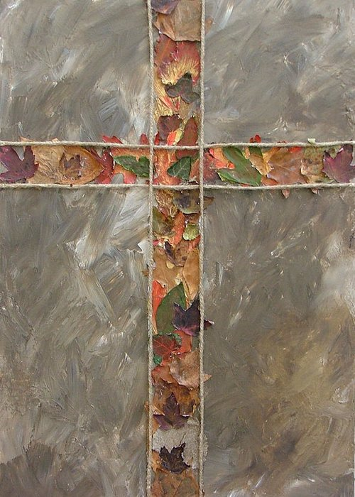 Cross Greeting Card featuring the painting Fall Cross by Donielle Boal