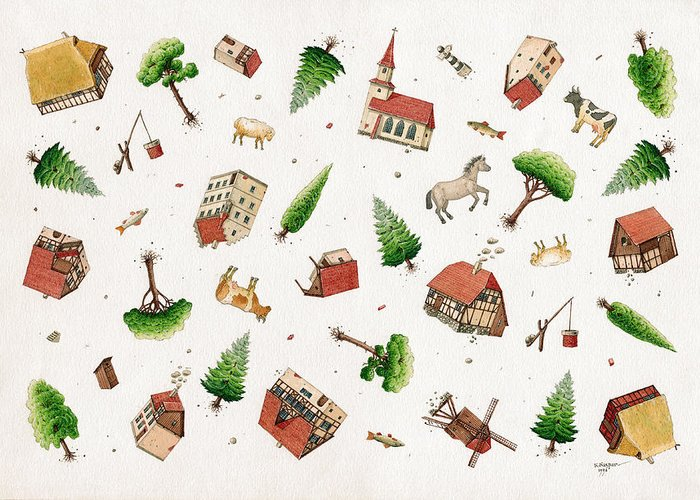 House Trees Green White Greeting Card featuring the painting Fall Down by Kestutis Kasparavicius