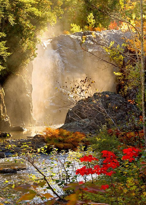 Fall Greeting Card featuring the photograph Fall Falls Mist Dead River Falls Marquette Mi by Michael Bessler