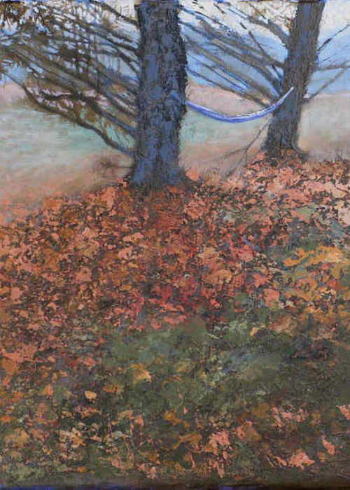 Leaves Leaf Tree Bare Hammock Branches Fall Orange Nature Yard Greeting Card featuring the painting Fall Hammock by Robert Bissett