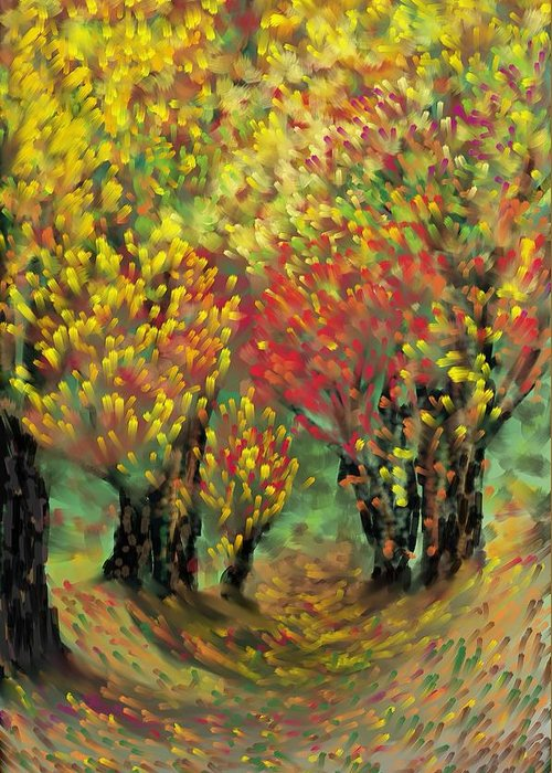 Landscape Greeting Card featuring the painting Fall Impression by Harry Dusenberg