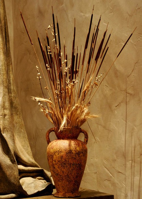 Fall Greeting Card featuring the photograph Fall In A Vase Still-life by Christine Till