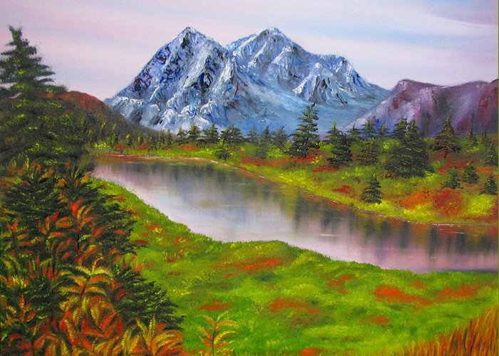 Fall Greeting Card featuring the painting Fall In Mountains Landscape Oil Painting by Natalja Picugina