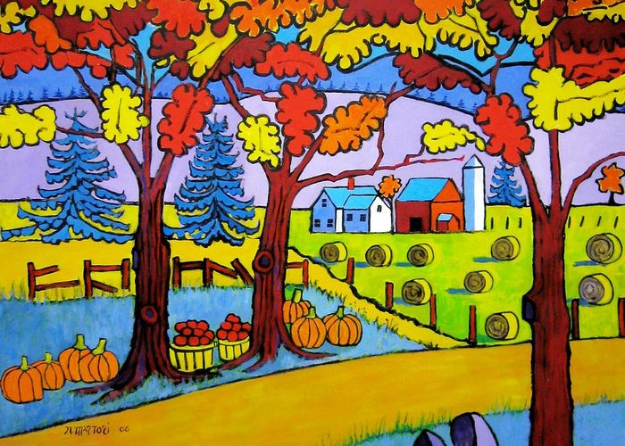 Farm Greeting Card featuring the painting Fall In The Mountains by Nicholas Martori