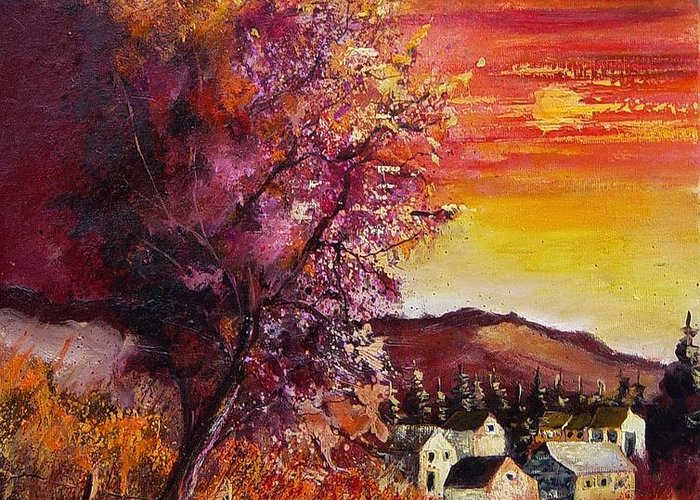 Autumn Greeting Card featuring the painting Fall in Villers by Pol Ledent