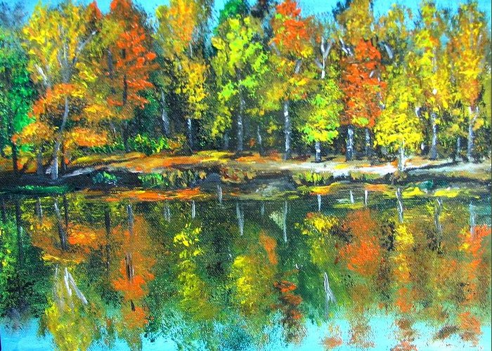 Fall Greeting Card featuring the painting Fall Landscape Acrylic Painting Framed by Natalja Picugina