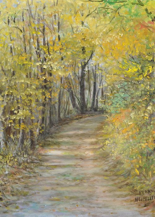 Fall Scene Painting For Sale Greeting Card featuring the painting Fall Lane by Penny Neimiller