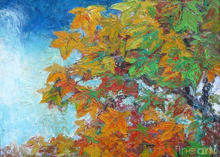 Fall Greeting Card featuring the painting Fall Leaves by Meihua Lu