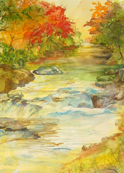 Mountain River Greeting Card featuring the painting Fall On East Fork River by Kris Dixon