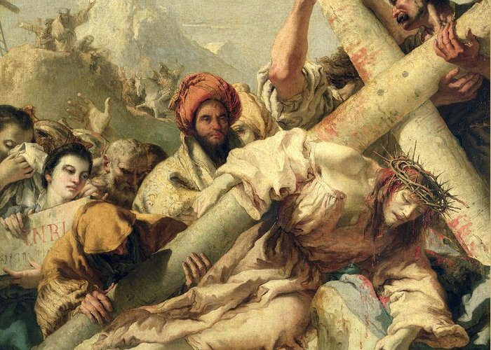Christ's Fall On The Way To Calvary Greeting Card featuring the painting Fall On The Way To Calvary by G Tiepolo