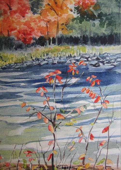 Landscape Greeting Card featuring the painting Fall by Pat Vickers