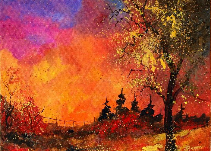 River Greeting Card featuring the painting Fall by Pol Ledent