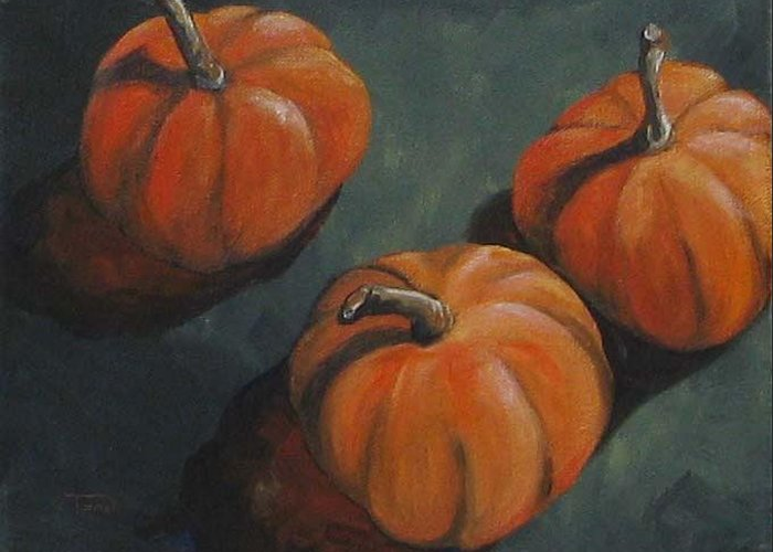 Pumpkin Greeting Card featuring the painting Fall Pumpkins by Torrie Smiley