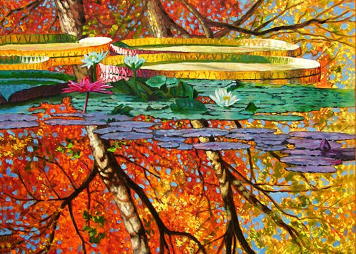 Garden Pond Greeting Card featuring the painting Fall Reflections 2 by John Lautermilch