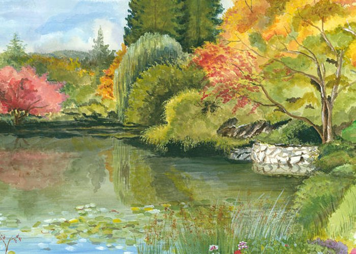 Acrylic Landscape Greeting Card featuring the painting Fall Reflections Butchart Gardens by Vidyut Singhal
