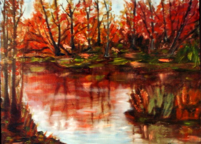 Landscape Greeting Card featuring the painting Fall Reflections by Lia Marsman