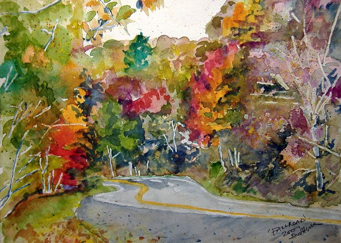 Landscape Greeting Card featuring the painting Fall Road - Watercolor by Donna Hanna