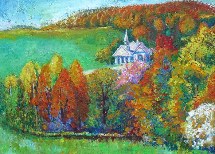 Fall Greeting Card featuring the painting Fall Scene by Meihua Lu