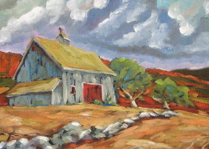 Farm Greeting Card featuring the painting Fall Scene by Richard T Pranke