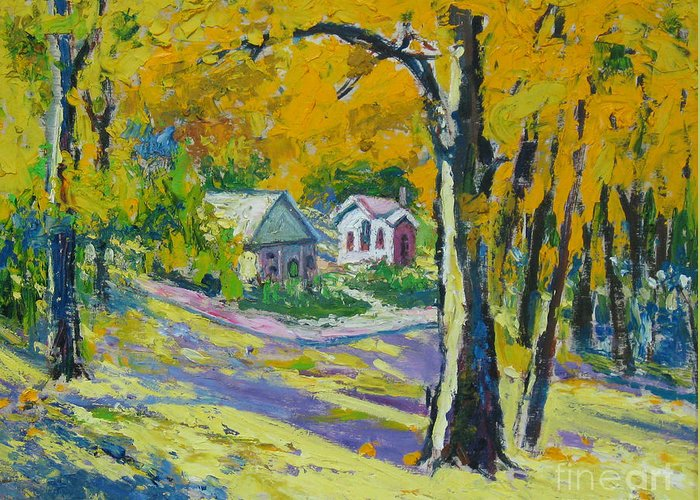 Trees Greeting Card featuring the painting Fall scenery by Meihua Lu