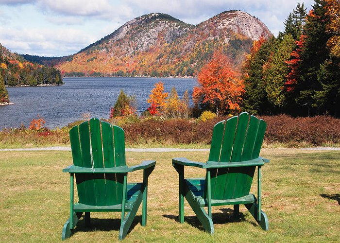 Adirondack Chairs Greeting Card featuring the photograph Fall Scenic With Adirondack Chairs At Jordan Pond by George Oze