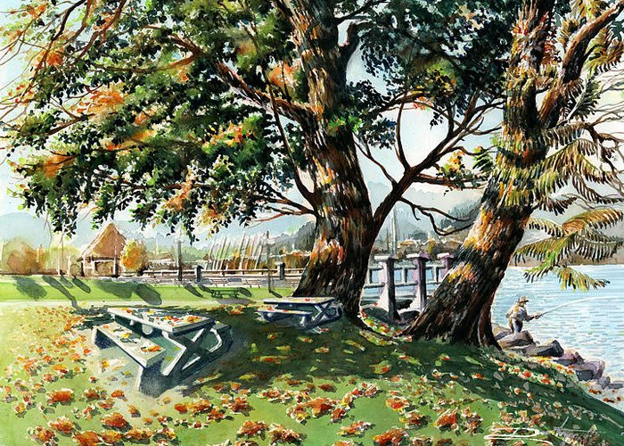 Landscape Greeting Card featuring the painting Fall Shapes Roky Point Park by Dumitru Barliga