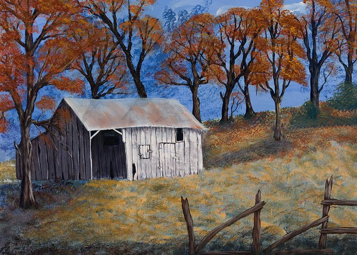 Landscapes Greeting Card featuring the painting Fall Shed by Julia Ellis