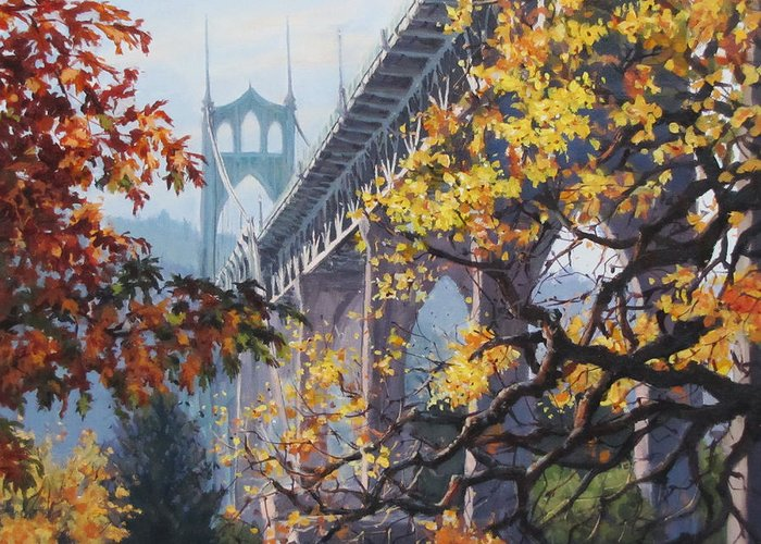 Portland Greeting Card featuring the painting Fall St Johns by Karen Ilari