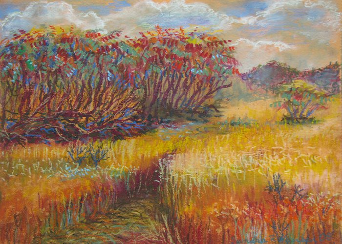Fall Greeting Card featuring the painting Fall Sumac Fields by Art Nomad Sandra Hansen