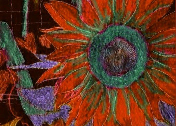 Digital Art Greeting Card featuring the digital art Fall Sunflower by Margie Byrne