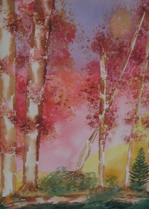 Landscape Fall Trees Watercolor Greeting Card featuring the painting Fall Sunshine by Warren Thompson