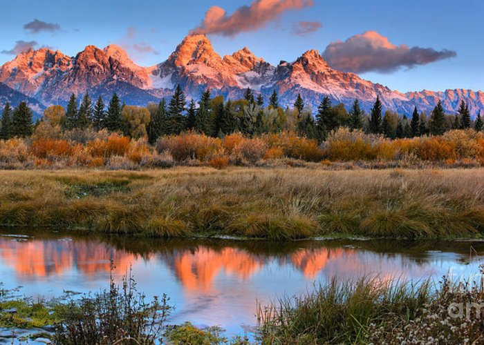 Teton Sunrise Greeting Card featuring the photograph Fall Teton Tip Reflections by Adam Jewell