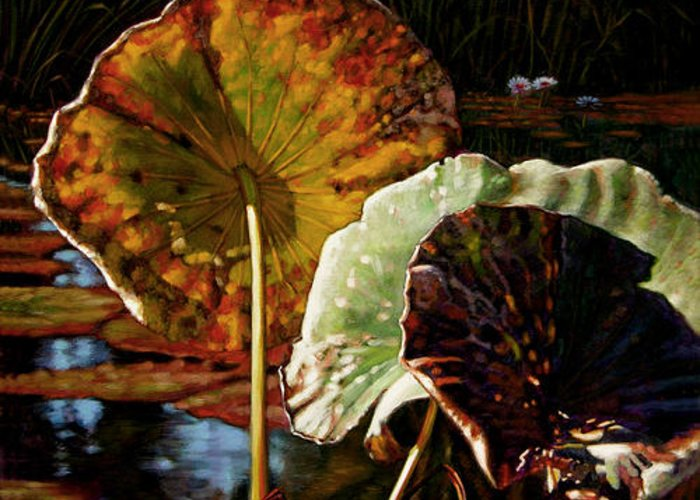 Fall Leaves Greeting Card featuring the painting Fall Trinity by John Lautermilch