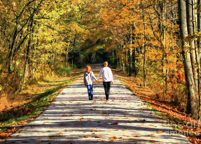 Fall Greeting Card featuring the photograph Fall Walk In The Woods by Randy Steele