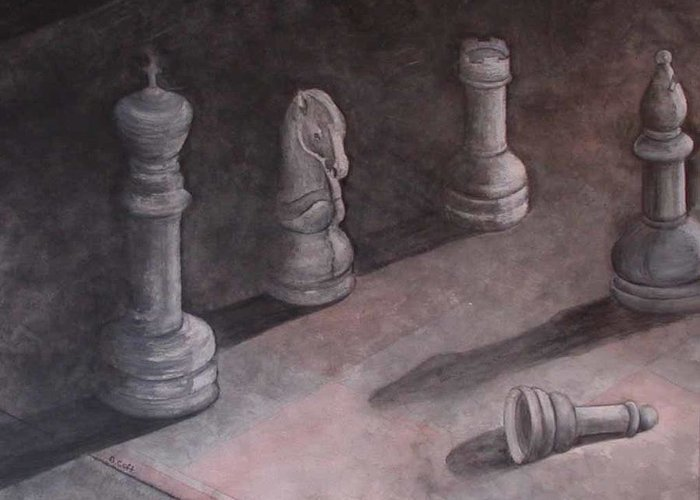 Chess Piece Greeting Card featuring the painting Fallen Chessman by Sandy Clift