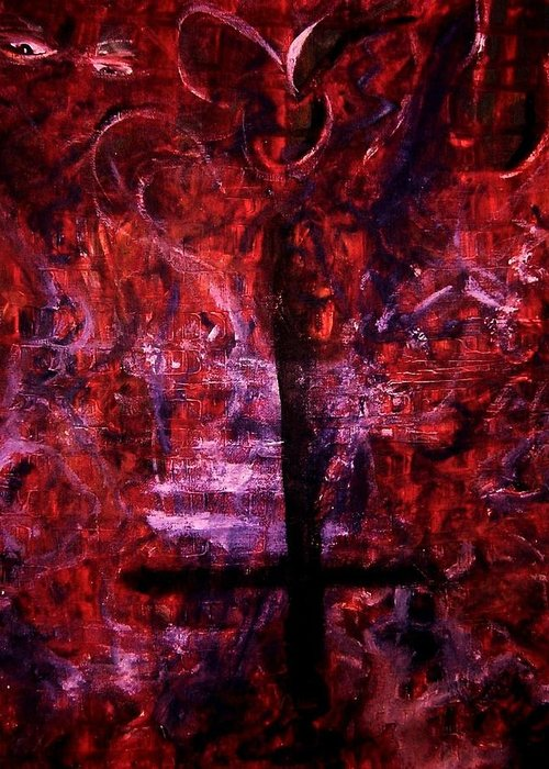 Hell Greeting Card featuring the painting Fallen Christian No 2 Darker Approach by Richard Hubal