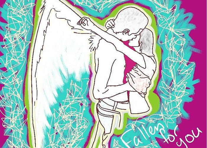Pink Drawing Greeting Card featuring the digital art Fallen For You by M Blaze Wolenski