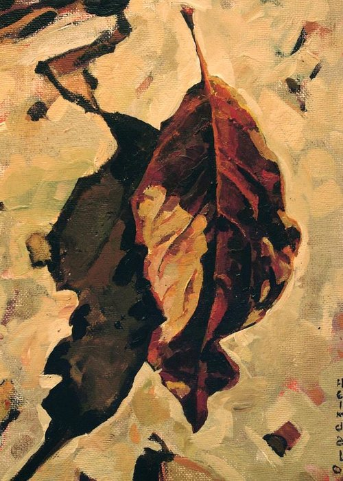 Canadian Greeting Card featuring the painting Fallen Leaf by Tim Heimdal