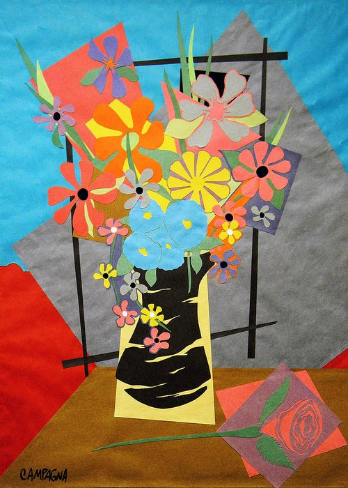 Cut Paper Greeting Card featuring the tapestry - textile Fallen Rose   by Teddy Campagna