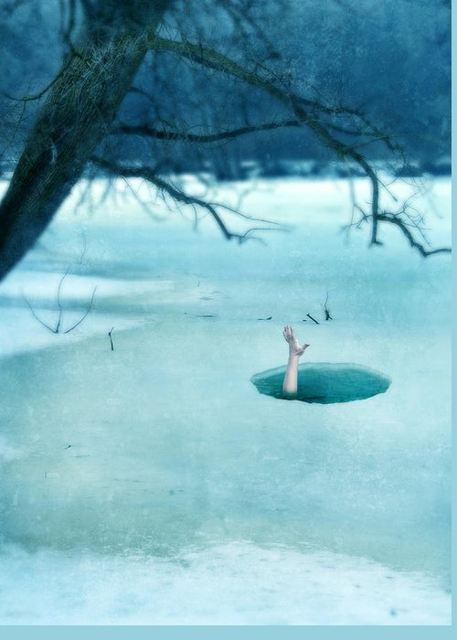 Hand Greeting Card featuring the photograph Fallen Through The Ice by Jill Battaglia